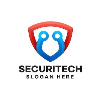 Création de logo de dégradé de technologie de sécurité