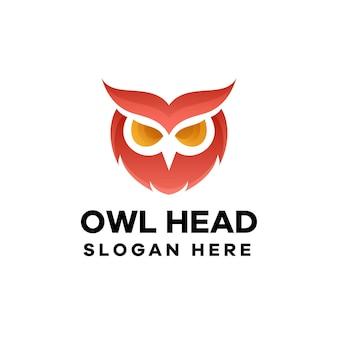 Création de logo de dégradé de tête de hibou