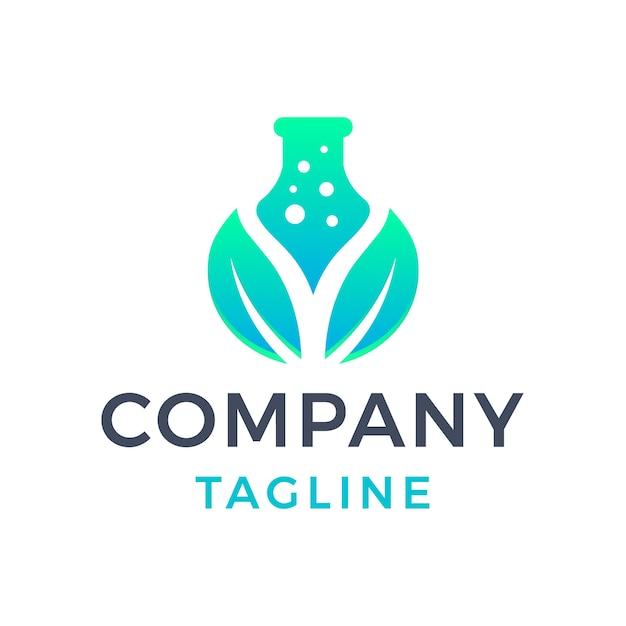 Création de logo dégradé vert 3d de laboratoire de feuilles naturelles modernes simples