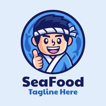 Création de logo de dessin animé de chef de sushi japonais