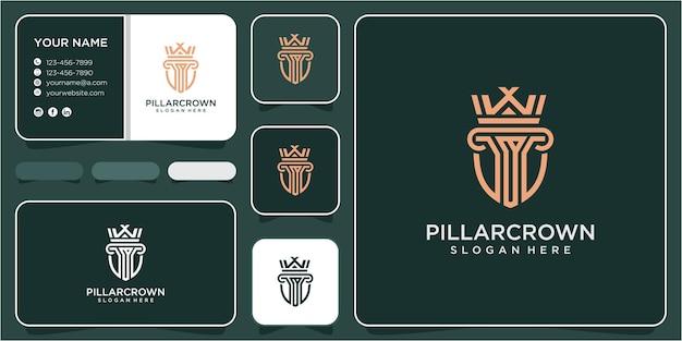 Création de logo de droit de la couronne. concept de conception de logo de loi pilier. modèle de conception de logo de pilier