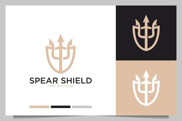 Création de logo élégant de bouclier de lance