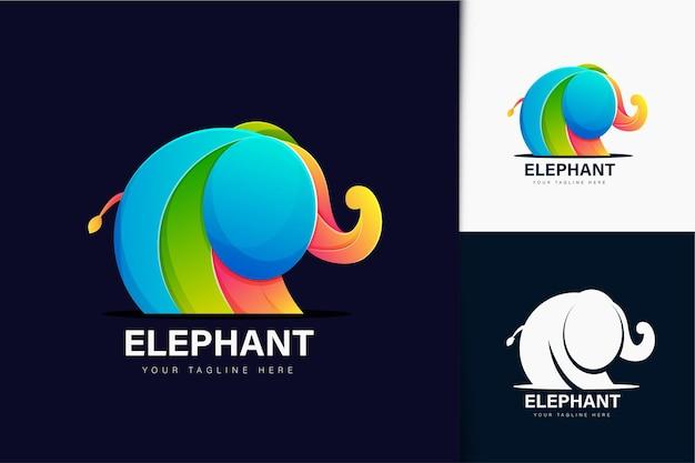 Création de logo d'éléphant dégradé coloré