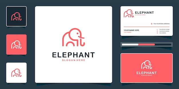Création de logo d'éléphant mignon minimaliste avec carte de visite
