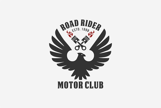Création de logo d'emblème de club de moto avec élément aigle et piston.
