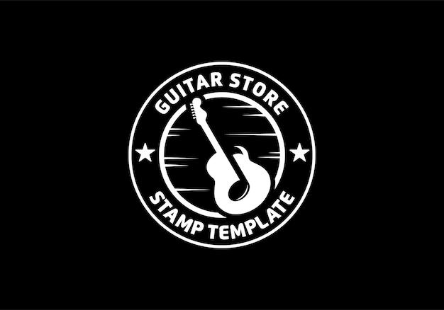 Création de logo d'emblème de magasin de guitare. conception ronde circulaire d'étiquette de timbre