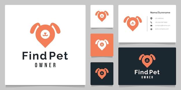 Création de logo d'emplacement de carte de patte de chien et de point d'épingle