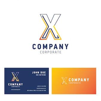 Création de logo d'entreprise x avec vecteur de carte de visite