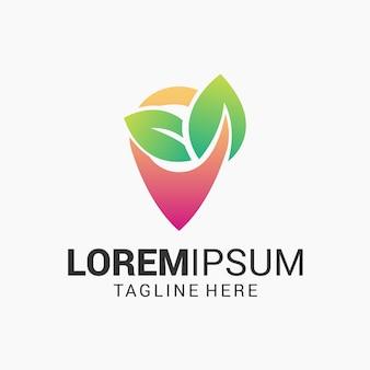 Création de logo épingle et feuille verte