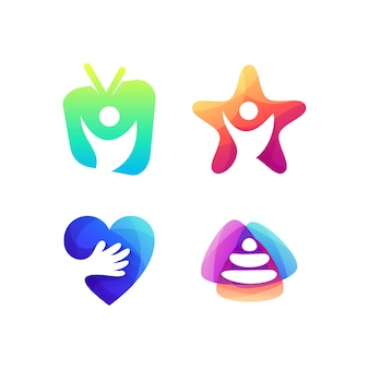 Création de logo d'espace humain négatif