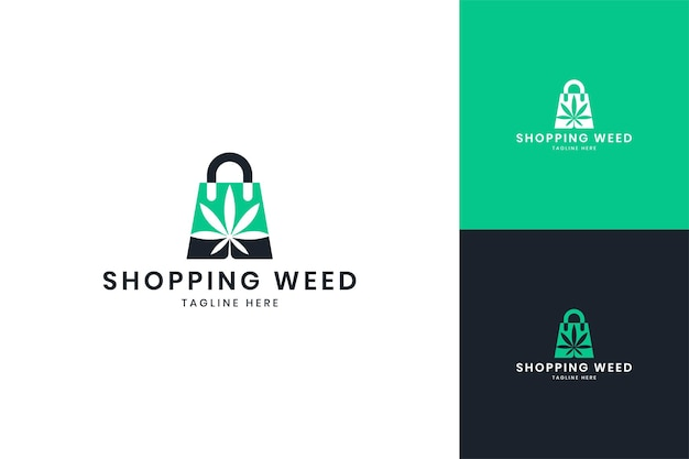 Création de logo d'espace négatif d'achat de cannabis