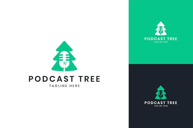 Création de logo d'espace négatif d'arbre de podcast