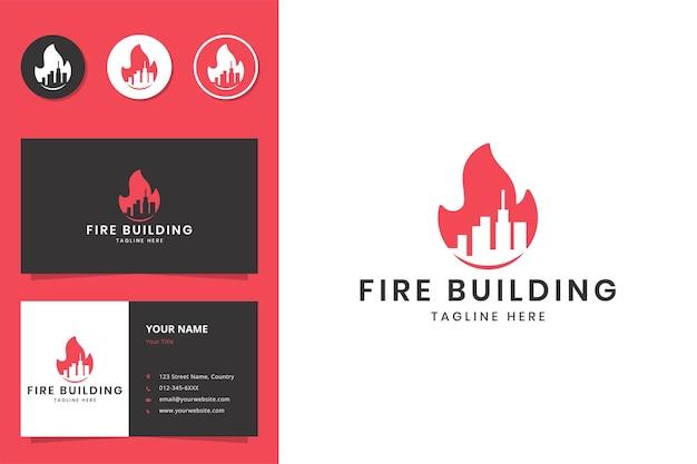 Création de logo d'espace négatif de bâtiment de feu