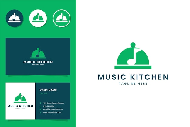 Création de logo d'espace négatif de cuisine de musique
