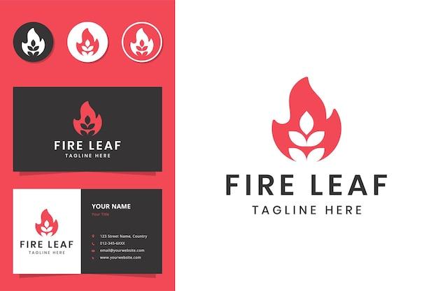 Création de logo d'espace négatif de feuille de feu