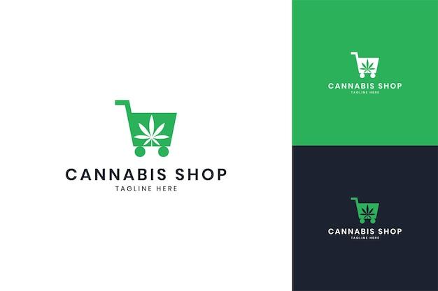 Création de logo d'espace négatif de magasin de cannabis