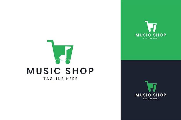 Création de logo d'espace négatif de magasin de musique
