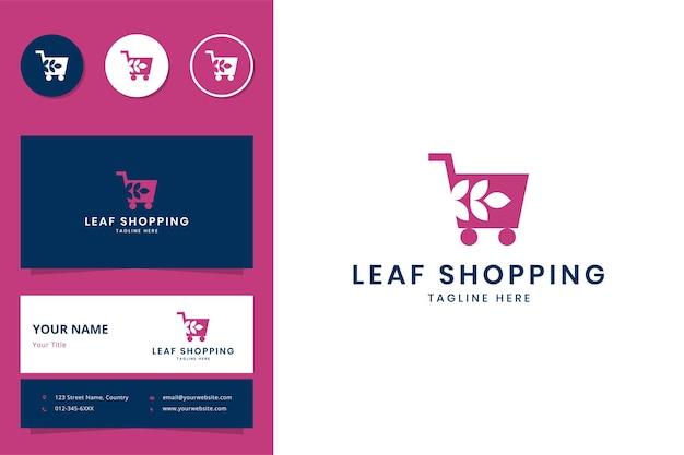 Création de logo d'espace négatif de magasinage de feuille