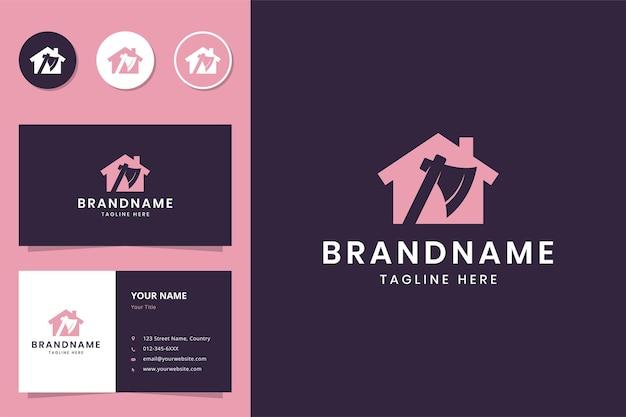 Création de logo d'espace négatif de maison de hache
