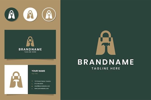 Création de logo d'espace négatif de marteau d'achat