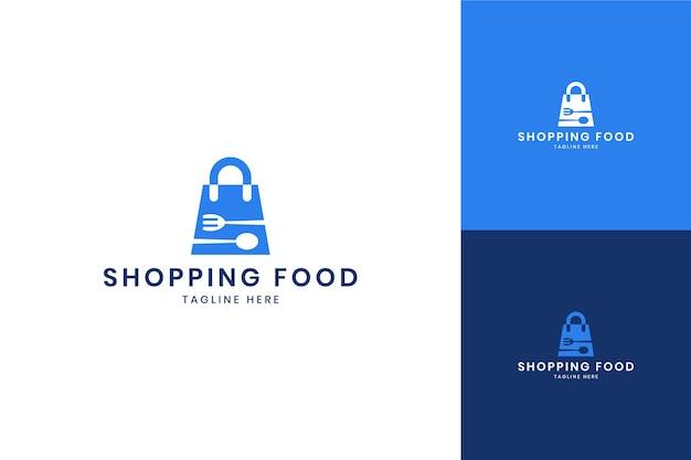 Création de logo d'espace négatif de nourriture de magasinage