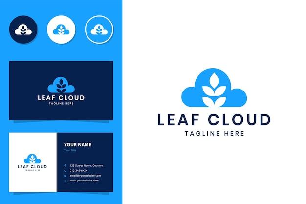 Création de logo d'espace négatif de nuage de feuille