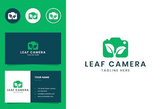 Création de logo d'espace négatif pour appareil photo à feuilles
