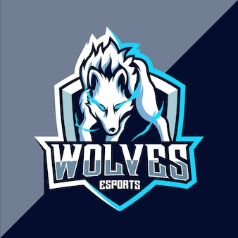 Création de logo d'esport de loup blanc