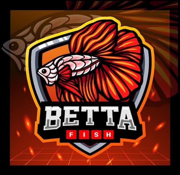 Création de logo d'esport de mascotte d'arts de zentangle de poisson de betta