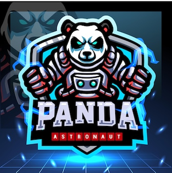 Création de logo esport mascotte astronaute panda