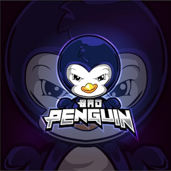 Création de logo esport mascotte bad penguin