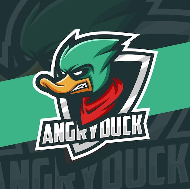 Création de logo esport mascotte canard vert en colère