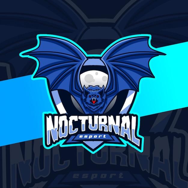Création de logo esport mascotte chauve-souris nocturne