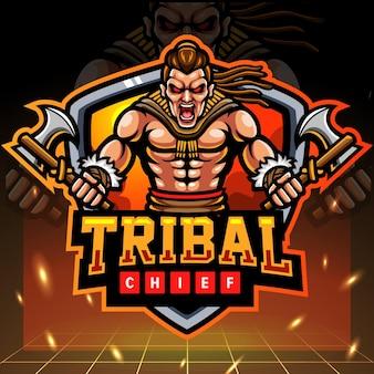 Création de logo esport mascotte chef tribal
