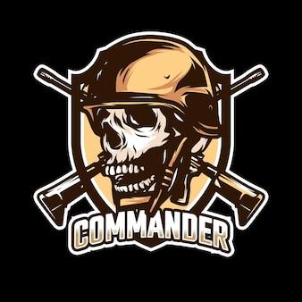 Création de logo d'esport de mascotte de crâne de commandant