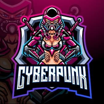 Création de logo esport mascotte cyberpunk fille
