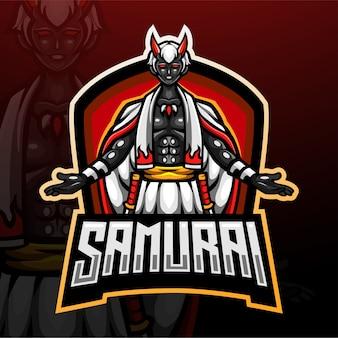Création De Logo Esport Mascotte Diable Samouraï Vecteur Premium
