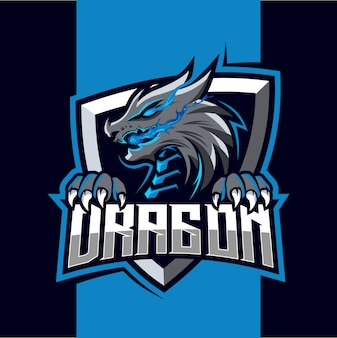 Création de logo esport mascotte feu dragon