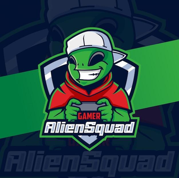 Création de logo esport mascotte joueur alien squad