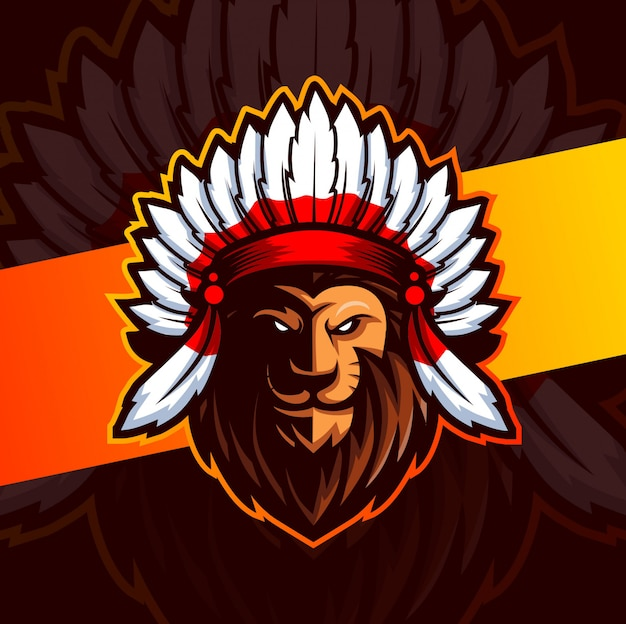Création de logo esport mascotte lion indien en chef