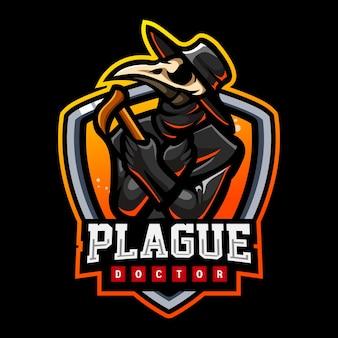Création de logo d'esport de mascotte de peste de docteur