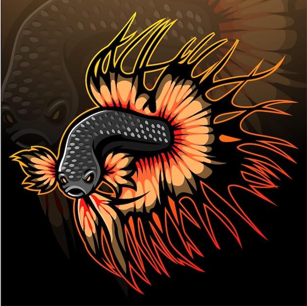 Création de logo esport mascotte poisson betta