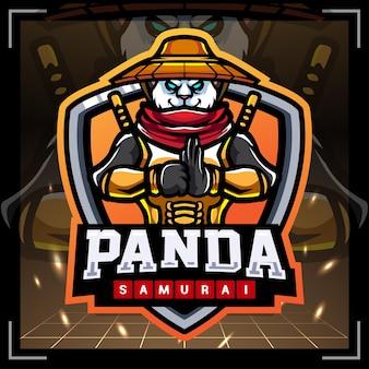 Création de logo esport mascotte samouraï panda
