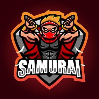 Création de logo esport mascotte samouraï