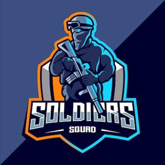 Création de logo esport mascotte soldat
