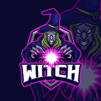 Création de logo esport mascotte sorcière
