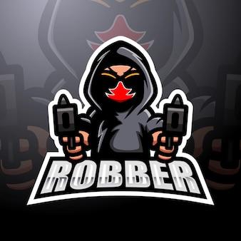 Création de logo esport mascotte de tireur de voleur