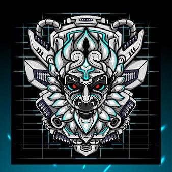 Création de logo d'esport mecha tête de roi singe
