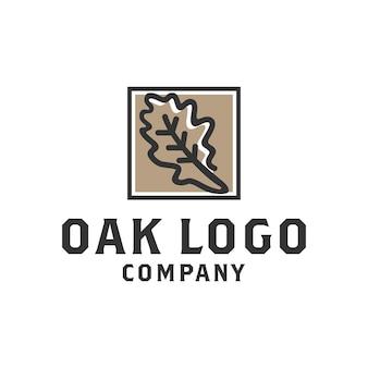 Création de logo d'étiquette d'arbre de chêne de noix de gland