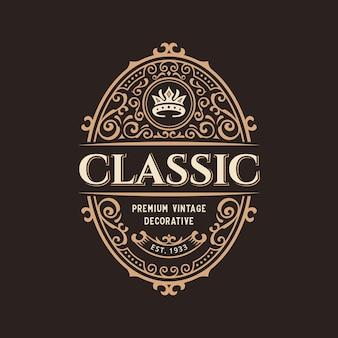 Création de logo d'étiquette d'insigne décoratif de luxe vintage avec cadre ornemental